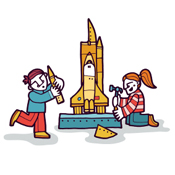 Kids building a rocket. illustration.